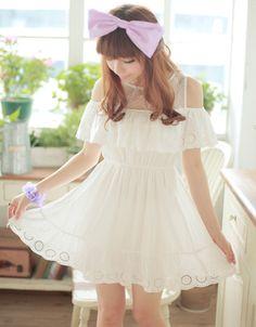 Kawaii Cute Sweet Dolly Lolita Elegance Princess Slim White Dress