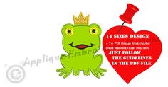 Frog Prince Machine Embroidery Applique Design-Prince Crown