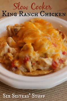 Slow Cooker King Ranch Chicken Recipe from SIX SISTERS! :) Very Tasty entree, but I cannot figure out why it's called 'Ranch Chicken'.. there's not ranch in it!