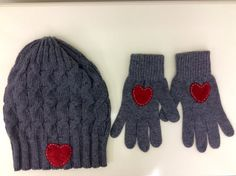 Grey Lambswool Beanie and Gloves set
