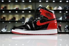 hot sale online a591d f09d8 Authentic 2018 Air Jordan 1 High OG NRG Patent Leather Banned Black White- University Red