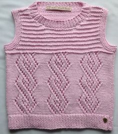 Knitted Tank Top Pink Cotton Vest  Girls Lace Top by CJsHandknits