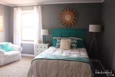 Teal, White and Grey Guest Bedroom Reveal (love the homemade headboard instructions) Will definitely do something like this for Jules' room, but replace the teal with a soft pink. Description from pinterest.com. I searched for this on bing.com/images