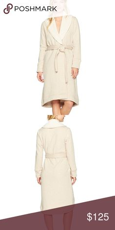 UGG Women's Duffield, Large -Oatmeal Heather NICE UGG Women's Duffield Robe Oatmeal Heather  Sz Large  12 to 14 Bust 38.5 - 40 Wrap yourself in luxury with this UGG Australia's Duffield shawl collar robe. Product Features: Durable double-knit with two butter soft materials bonded together Jersey exterior and a plush poly interior crafted from ultra-fine fibers Shawl collar Sash self bet On-seam side pockets Asymmetric high-low hemline Split cuff and hem Specialty stitching UGG flag label…