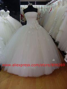 2012 Custom Made Tulle White Ball Gown Flower Floor Length Wedding Dress/Bridal Gown SL 3719