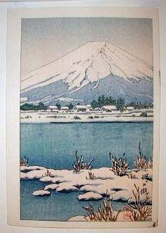 1930's - Hasui, Kawase - Mt.Fuji in Snow - Kawaguchi Lake