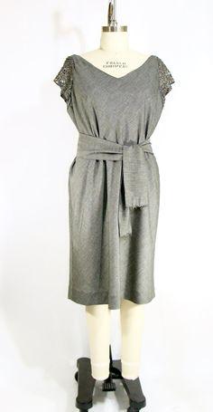 Plus Size Grey Bias Cut Dress with Sequin by vintagebycassandra