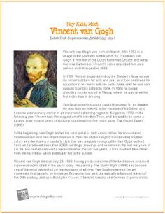 Hey Kids, Meet Vincent van Gogh | Biography - http://makingartfun.com/htm/f-maf-printit/van-gogh-printit-biography.htm