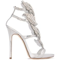 Giuseppe Zanotti Design Embellished 'Cruel' Sandals (14.655 HRK) ❤ liked on Polyvore featuring shoes, sandals, giuseppe zanotti shoes, ankle strap stilettos, embellished sandals, metallic shoes and winged sandals