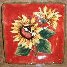 Wall Clock Sunflowers Ceramic Plate Wall Clock No by makingtimetc, $35.00
