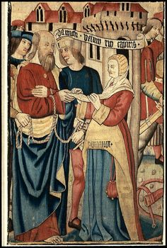 Tapestry - Saint Paul Requesting Plautilla's Veil (possibly from a series of hangings illustrating the Life of Saint Paul) - French - late 15th-early 16th century
