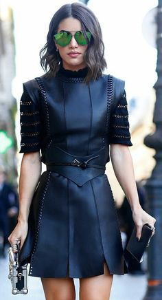 Love this dress and the green sunnies bring a new funky dimension to this all back outfit | Black outfits for women