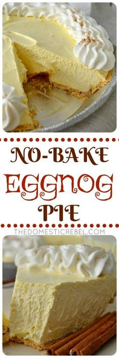 This No-Bake Eggnog Cream Pie is so perfect for the holidays! Creamy, smooth vanilla & nutmeg-flavored cream pie with a buttery graham cracker crust. Easy, impressive and a one of a kind dessert! (no bake oreo cake products) Dessert Dips, Pie Dessert, No Bake Desserts, Just Desserts, Delicious Desserts, Dessert Recipes, Yummy Food, Baking Recipes, Healthy Desserts