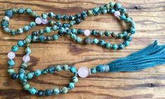 108 African Turquoise Rose Quartz Mala Beads by NakedPlanetJewelry