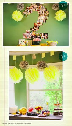 Pretty party decoration for kids birthday - I love the collage of photographs of the kid!