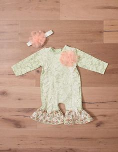 Peaches+'n+Cream+Clara+Mint+Lace+Ruffle+Romper+W/+Headband