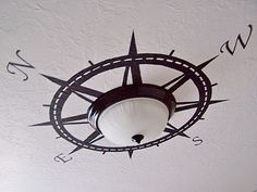 Compass on the ceiling around a light fixture. I might try this in my living room.
