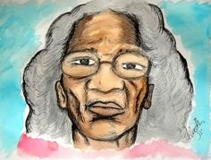 """""""Great Aunt Alice"""" Drawing/Water Color 2015 - Drawing by indiaSheana www.indiaSheana.com"""
