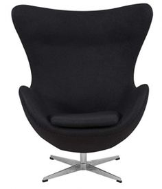 LeisureMod Arne Jacobsen Egg Chair & Ottoman in Black Wool White Dining Room Chairs, Cafe Chairs, Cute Desk Chair, Most Comfortable Office Chair, Adirondack Chairs For Sale, Egg Chair, Chair And Ottoman, Eggs, Cushions