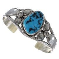 Sterling Silver Sleeping Beauty Turquoise American Indian Cuff Bracelet RX89981