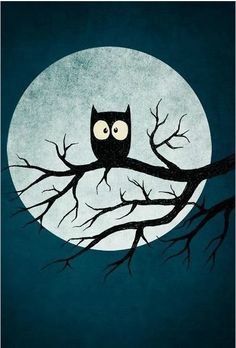 owl silhouetted against full moon