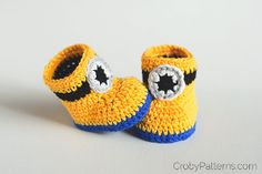 Minion Inspired Crochet Baby Booties