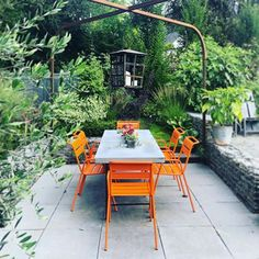 Lisa Nunamaker (@paper.garden.workshop) • Instagram photos and videos Landscape Design, Garden Design, Outdoor Furniture Sets, Outdoor Decor, Outdoor Living, Orange Chairs, Patio, Seattle, Workshop