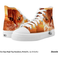 Cat Zipz High Top Sneakers, Prited Shoes Printed Shoes ($96) ❤ liked on Polyvore featuring women's fashion, shoes, sneakers, cat shoes, zipz, zipz shoes, cat trainer and cat footwear