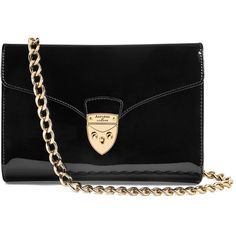 Aspinal of London Manhattan Leather Clutch Bag ($470) ❤ liked on Polyvore featuring bags, handbags, clutches, chain handle handbags, real leather purses, sport purse, chain-strap handbags and aspinal of london