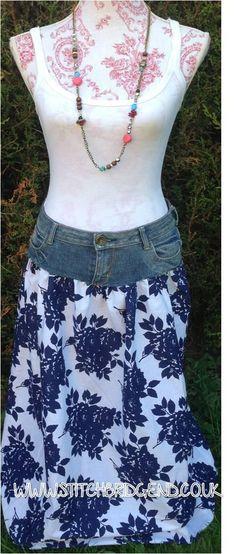 0c2041c44943 DIY Tutorial DIY Skirt From Jeans / DIY Jeans, duvet cover and the boho  skirt - Bead&Cord