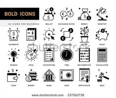 Bold vector icons in a modern style. Linear elements with potting black. Business and finance, exchange rates, financial services, banking environment and business space. - stock vector