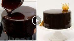 How To Make Chocolate Mirror Glaze. Shiny chocolate glaze recipe easy to make at home. Shiny Chocolate Glaze Recipe, Chocolate Mirror Glaze, Salted Caramel Chocolate, Chocolate Recipes, Food Cakes, Cupcake Cakes, Glaze For Cake, Mirror Glaze Cake, Chocolate Fudge Brownies