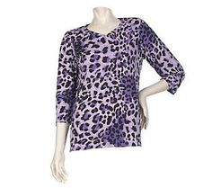 Pin to Win #SusanGraver Sweepstakes! {Animal Print Liquid Knit 3/4 Sleeve Top} Enter here: http://sweeps.pinfluencer.com/QVC