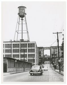 East Fifth Street, looking west, R. Reynolds Tobacco Company's Factory 64 is at left, and Building is at right. Piedmont Airlines, Forsyth County, North Carolina Homes, Richmond Virginia, Winston Salem, Branding Ideas, Back In Time, Cityscapes, Vintage Pictures