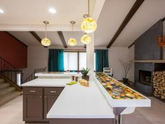 HGTV shows why colorful, semi-precious stones are a hot choice for countertops, floors, backsplashes and more.