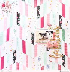 Collage your paper scraps into a stunning chevron background. @abstractinspiration @pinkpaislee #ziniaamoiridou #pinkpaislee #abstractinspiration #ppohmyheart #pptakemeaway #collagebackgrounds #scrapbooking #scrapbook