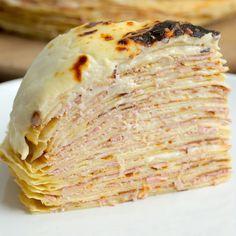 Ham And Cheese Crepe Cake.