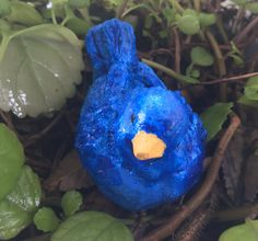 Handmade handpainted cement little blue bird by LeavesofSunshine