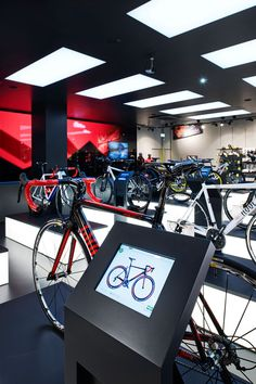 engelhorn sports – bike and skater department - Blocher Blocher Partners Display Design, Store Design, Bike Experience, Bicycle Store, Digital Signage, Sports Shops, Car Shop, Retail Shop, Interactive Design