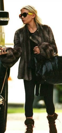 Ashley Olsen | Fur Coat and Boots (love those!!)
