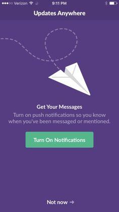 In notificatie centrum call to action optie om je notificaties in te stellen en te activeren op onze manier met humor.