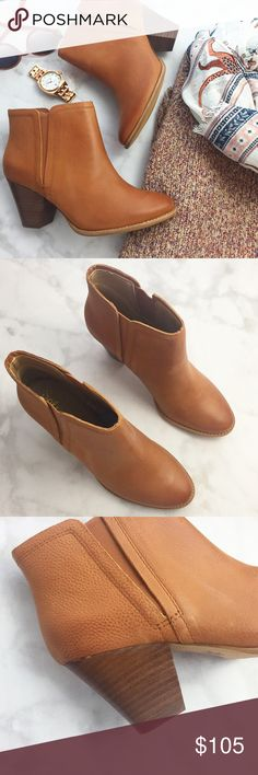 """Cognac Leather Ankle Boots Details: * Size 9 * Cognac pebbled leather * Pull-on style with elastic goring * 3"""" heel * Brand new in box 11231604 Splendid Shoes Ankle Boots & Booties"""