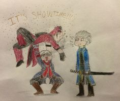 Devil May Cry Draw Your Squad with Dante, Nero and Vergil! (Drew it in the original Draw Your Squad style- I'll probably make a more realistic version later)
