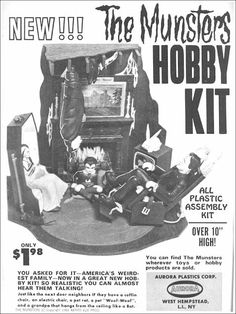 The Munsters Hobby Kit by Aurora Munsters Tv Show, The Munsters, Plastic Model Kits, Plastic Models, 1313 Mockingbird Lane, Hobby Kits, Famous Monsters, Classic Monsters, Vintage Tv