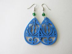 Blue Wooden Phoenix and Green Fire Polished Glass Bead Earrings