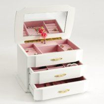 Seya White Musical Children's Jewelry Box with Ballerina Style No. MPM-212