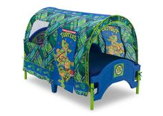 The perfect beginning to a heroic room, the Nickelodeon Teenage Mutant Ninja Turtles Toddler Tent Bed by Delta Children evokes the spirit and appeal of everyone's favorite turtles, Leonardo, Raphael,