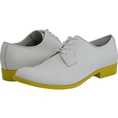 I love Jil Sander! Grey oxfords with a yellow sole.