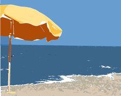 Yellow Beach Umbrella Ocean Blue Water  Summer by DawnSmithDesigns