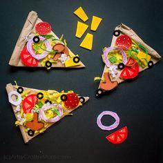 Kids Food Crafts, Food Art For Kids, Easy Crafts, Diy And Crafts, Arts And Crafts, Food Kids, Cardboard Crafts, Paper Crafts, Pizza Kunst